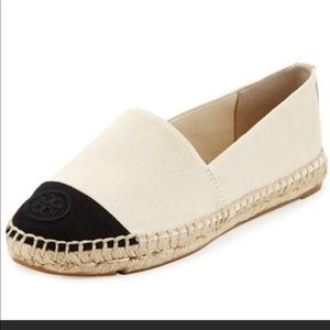 Tory Burch 2 tone canvas espadrille size 39